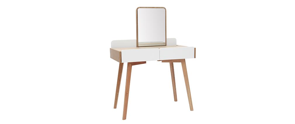 Tocador moderno con espejo y almacenaje madera y blanco TAYA