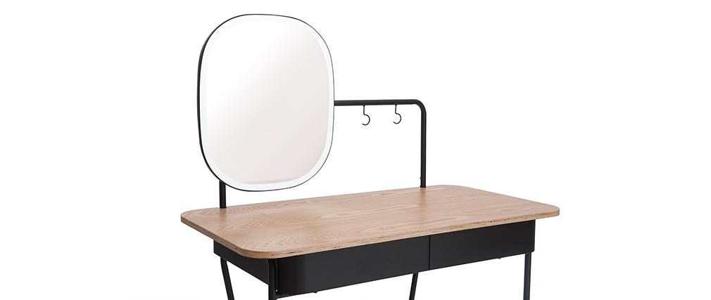 Tocador vintage con espejo metal y fresno CAVAL