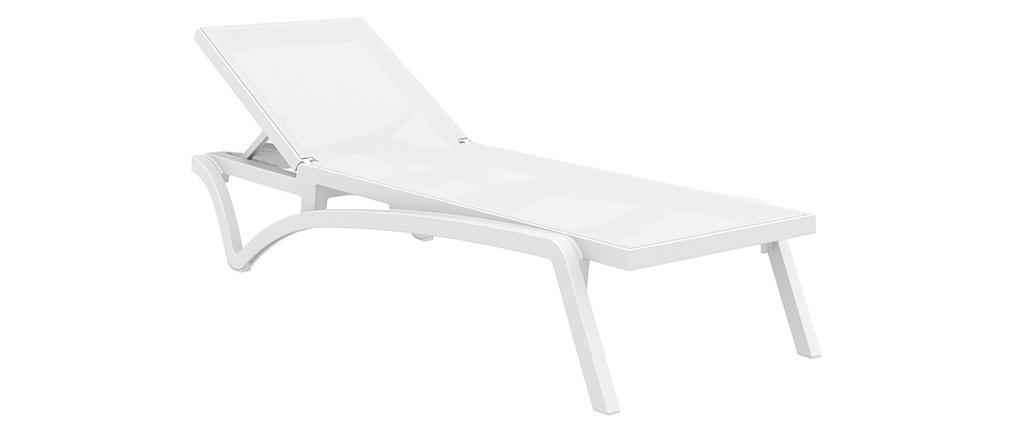 Tumbona ajustable blanca con ruedas CORAIL