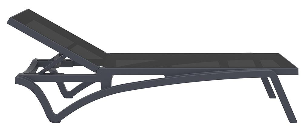 Tumbona ajustable negra con ruedas CORAIL