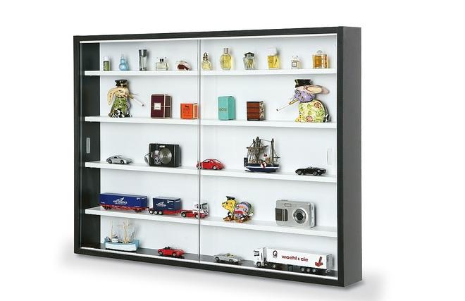 Vitrina de pared para miniaturas blanca y negra bari zoom - Vitrinas para miniaturas ...